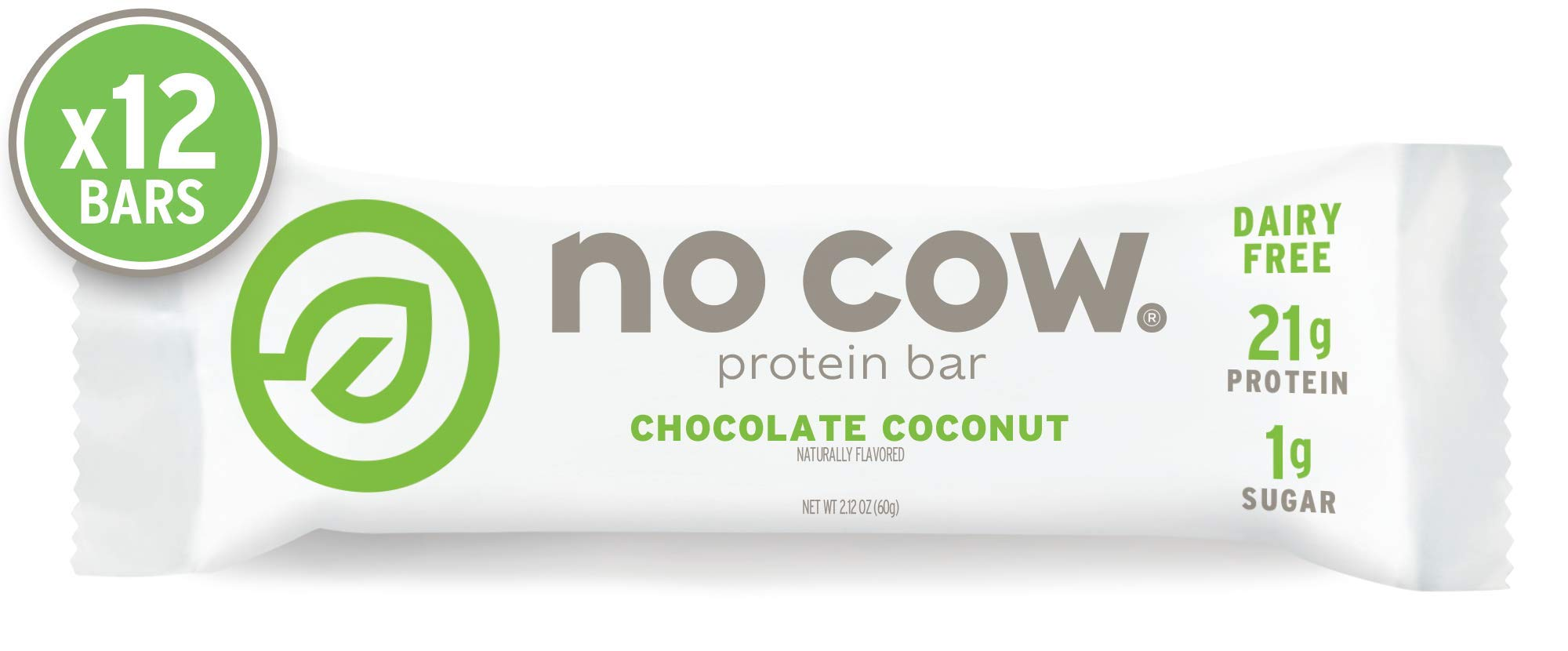 No Cow Protein Bar Chocolate Coconut, Plant Based Protein (21g), Keto Friendly, Low Sugar, Dairy Free, Gluten Free, Vegan, High Fiber, Non-GMO, 12 Count by No Cow