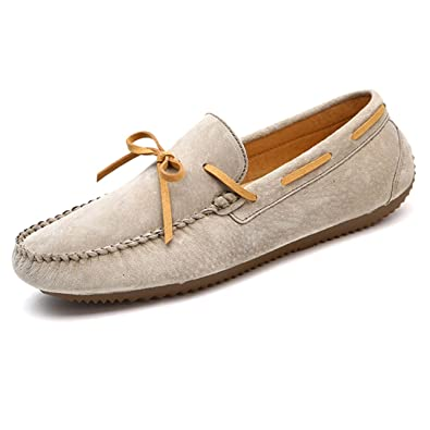Mens Nubuck Leather Moccasins Loafers With Tie Front