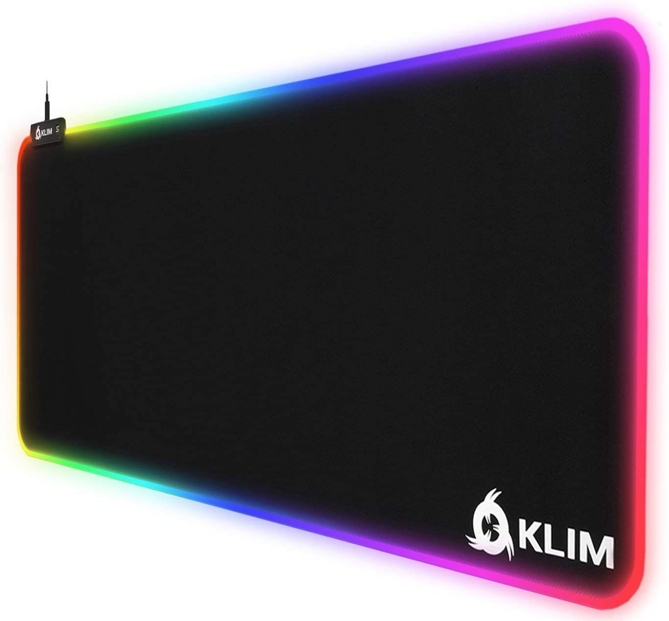 KLIM Supremacy - Alfombrilla de ratón RGB Extra Grande - Nueva 2021 - Superficie extendida (XL) - Tela de Alta precisión - Alfombrilla de ratón Muy Grande con Luces, USB - 786 x 300 x 3 mm