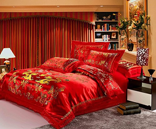 Dragon Bed Set - Norson Chinese Traditional Red Sheet Asian Bedding Queen with Dragon and Phoenix Bird Embroidery Duvet Cover Set 4pcs (King)