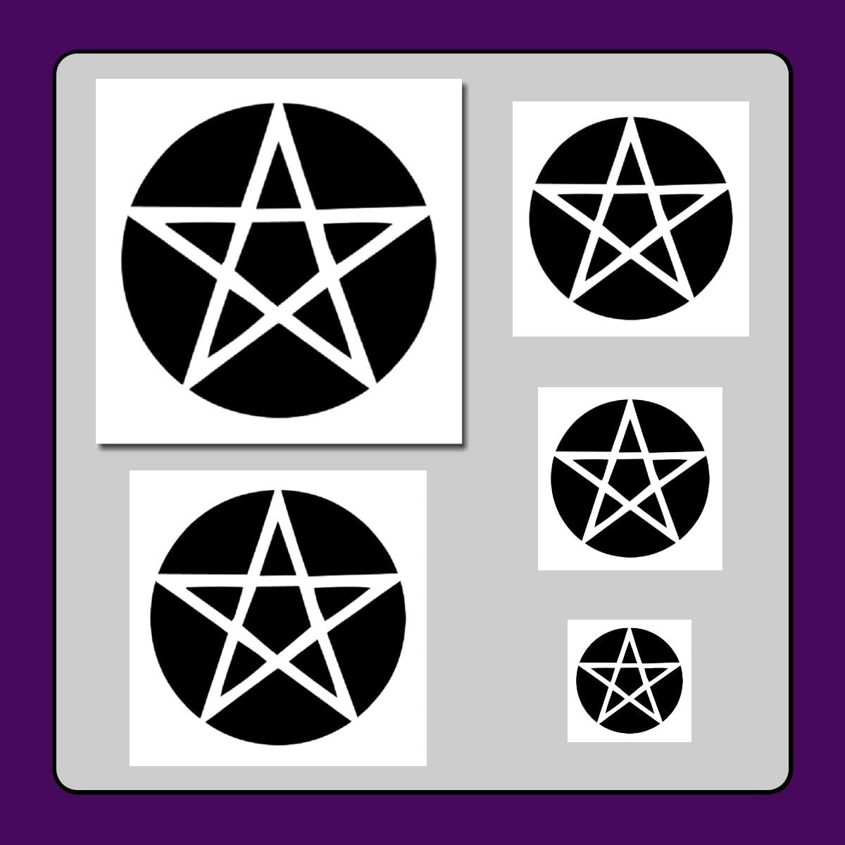 Amazon Com Set Of 5 Pentagram Pentacle Star Stencils In 5 Sizes Halloween Gothic Wiccan Templates