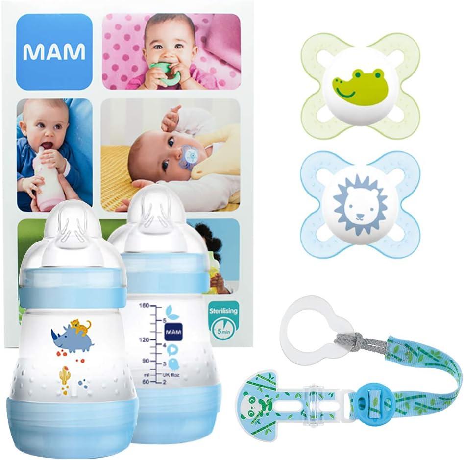 MAM Welcome Baby Starter Set, regalos para bebé, canastilla con 2 biberones anticólicos Easy Start (160 ml), 2 chupetes Start de silicona (0-2 meses) y chupetero, NIÑO