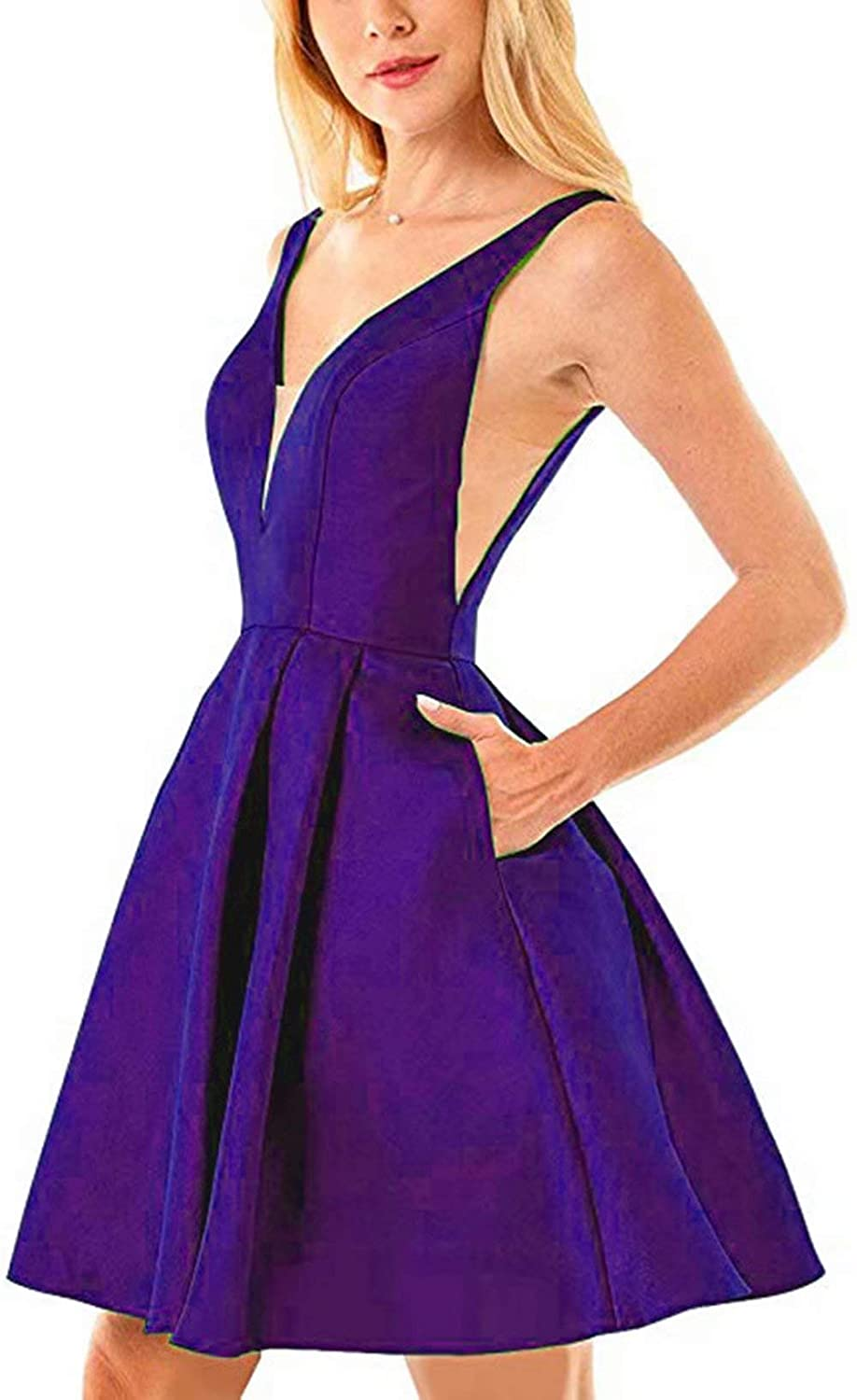 Purple Rmaytiked Womens V Neck Prom Dresses Short 2019 Satin A Line Homecoming Dresses with Pockets