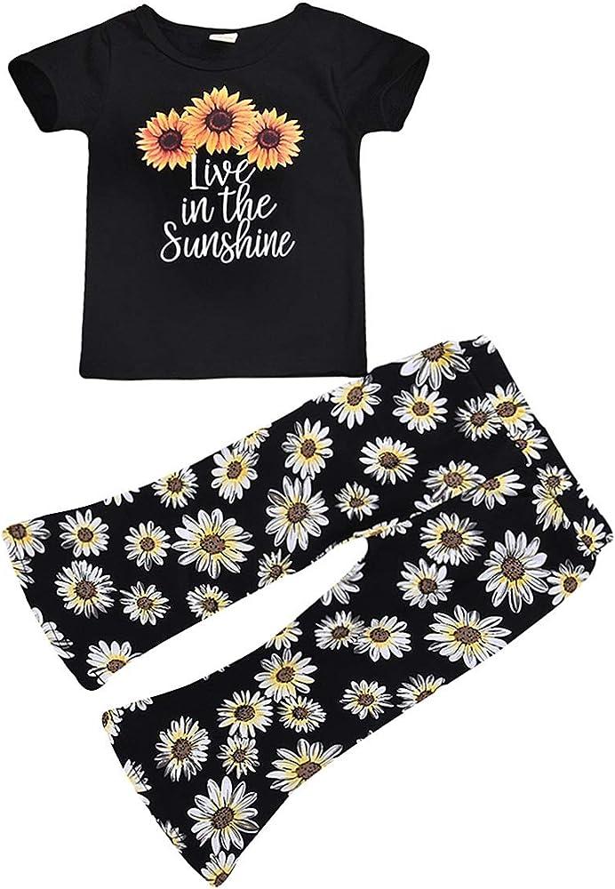2 Unids Niños Niñas Trajes de Verano Camisa Estampada de Girasol Pantalón Llamativo Floral Pantalones Traje (Color : Black, Size : 3-4Y): Amazon.es: Ropa y accesorios