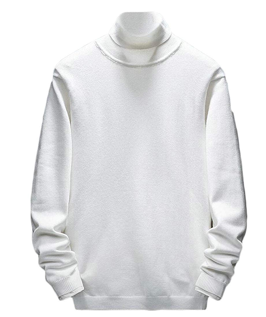 Hajotrawa Mens Casual Pure Color Basic Top High Neck Knitted Pullover Sweaters