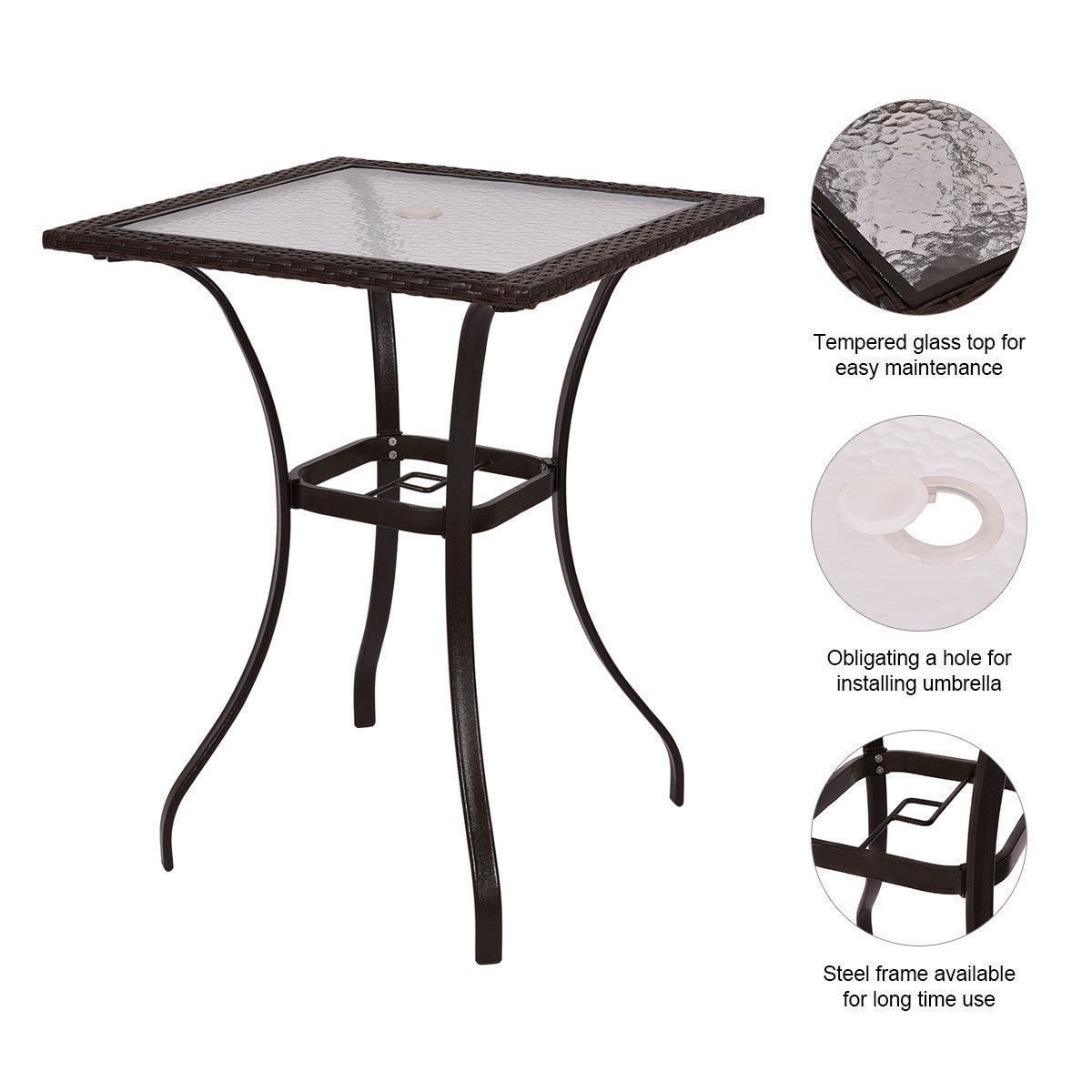 GoodGoods LLC Bar Square Table Glass Modern and Useful Outdoor Patio Rattan Wicker Top Yard Garden Furniture New by GoodGoods LLC (Image #9)