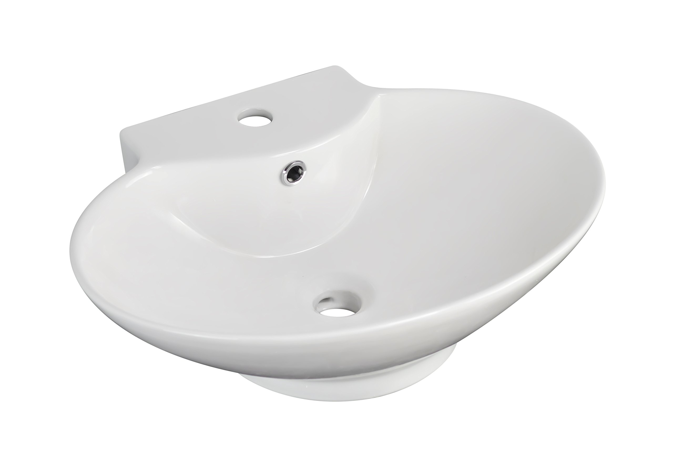 American Imaginations 703   Wall Mount Oval White Ceramic Vessel for Single Hole Faucet Installation