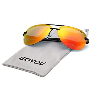 BOYOU marco del espejo gafas de sol al aire libre Hombres