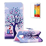 Funyye Magnetic Flip Cover for Samsung Galaxy S9,Premium Stylish Owl Tree Pattern Stand Wallet PU Leather Case with Soft Silicone for Samsung Galaxy S9 + 1 x Free Screen Protector