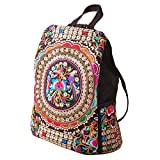 Vintage Embroidery Floral Ethnic Canvas Handmade Daily Backpacks, 13x11.8x6.3