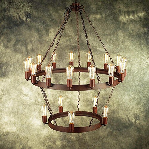 2 Tier Chandelier Square Shades (DMMSS Vintage Old Two-Tier Chandelier Rustic Iron Chandelier Lamp)