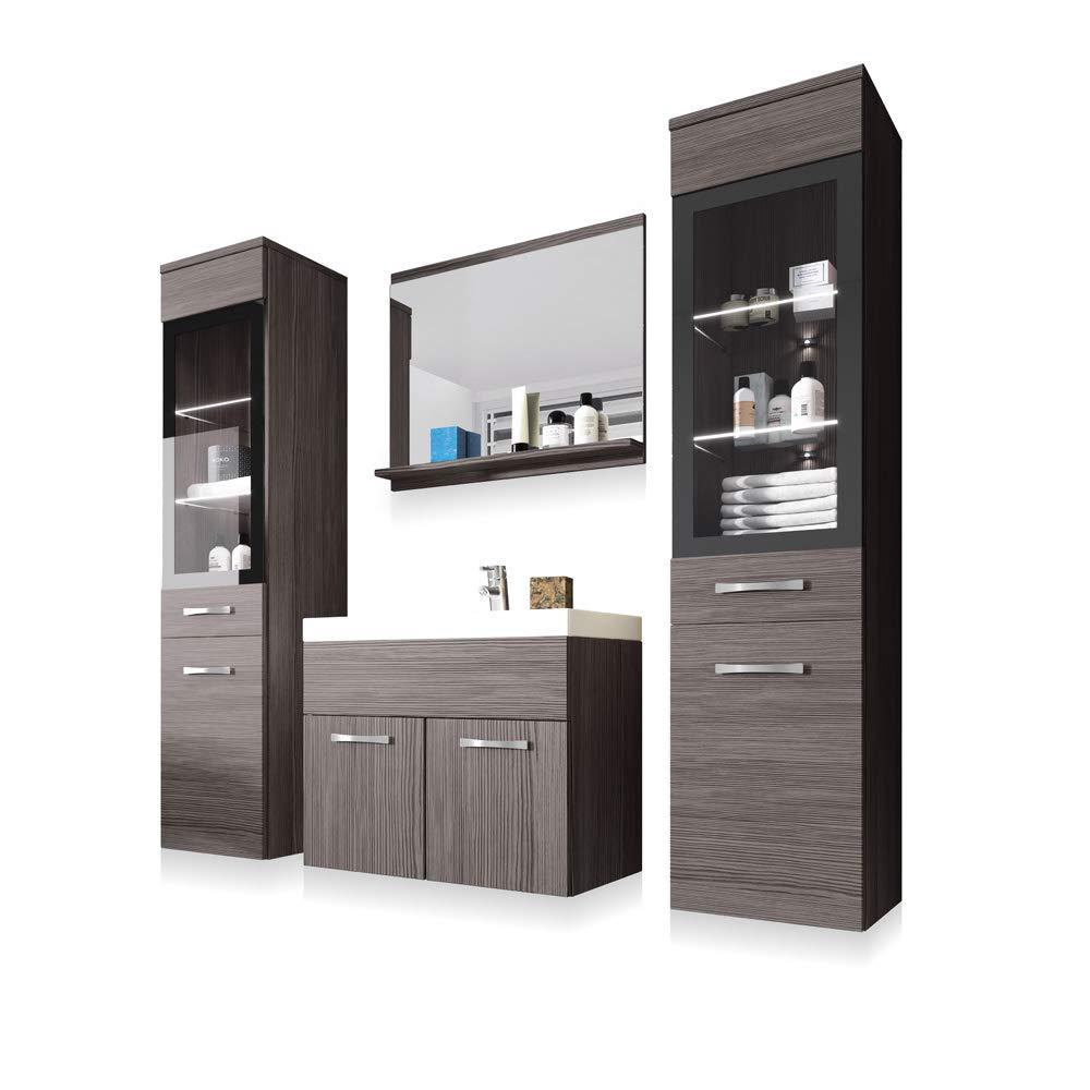 Ipanema - Badezimmer-Set Badmöbel-Set hängend 4-Teilig Waschbeckenunterschrank Mit Waschbecken Spiegel Und 2X Badschrank Bodega