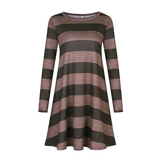 20d0add76777 YuYe Fashion Long Sleeve Striped Casual Loose Women s Autumn T-Shirt Swing  Dress - Army