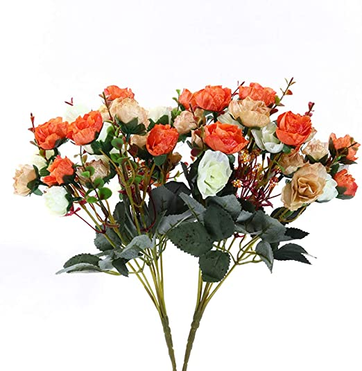Set of 3 Artificial Orange /& Cream Rose and Gypsophila Bouquets