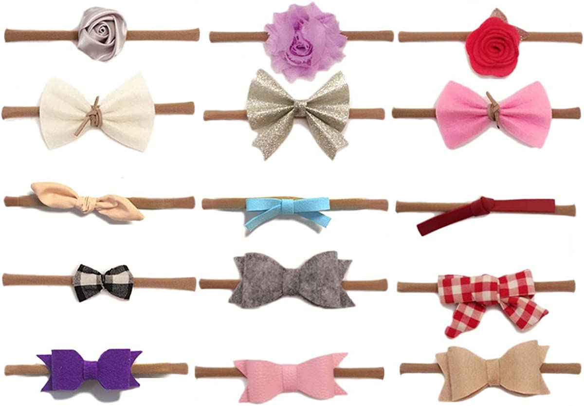 FYGOOD Lot de 15pcs Bandeau Cheveux Elastique pour B/éb/é Fille Enfant 0-5ans