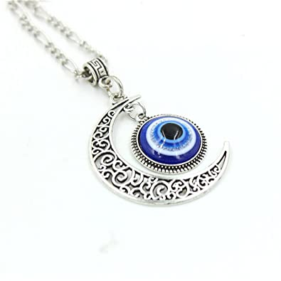 Crescent Moon Pendant Blue Eyes Necklace Evil Eye Glass Art Picture Triple  Goddess Pendant  Liumart  Amazon.co.uk  Jewellery 4b06f2243b
