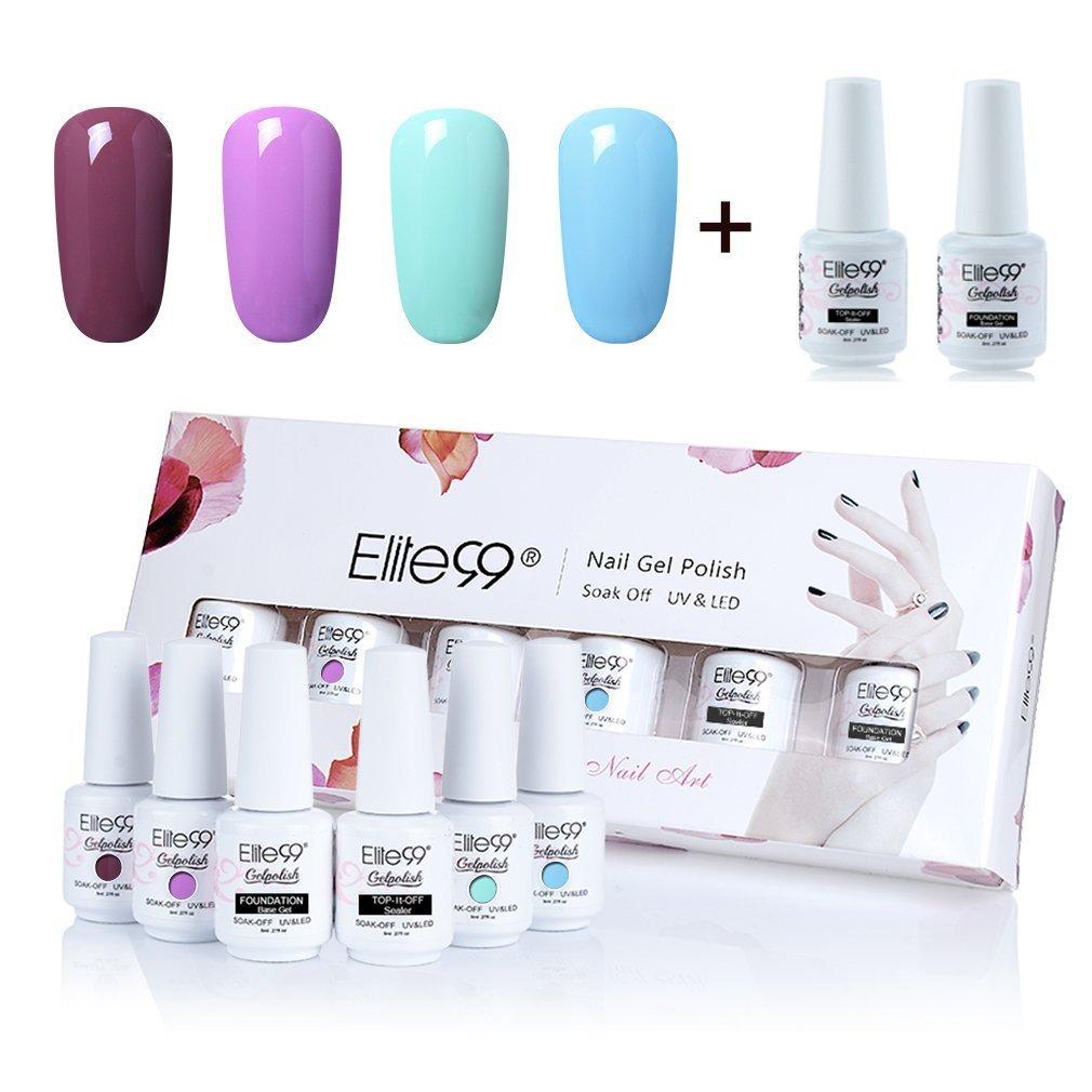Elite99 Gel Nail Polish Set Soak Off UV LED Gel Polish with Top Coat Base Coat Nail Art Gift Box Set of 6 8ml C031 Qimisi