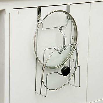 Gancho para puerta de armario con tapa y soporte, organizador de estufa, estante de almacenamiento para cocina, accesorios de cocina: Amazon.es: Hogar