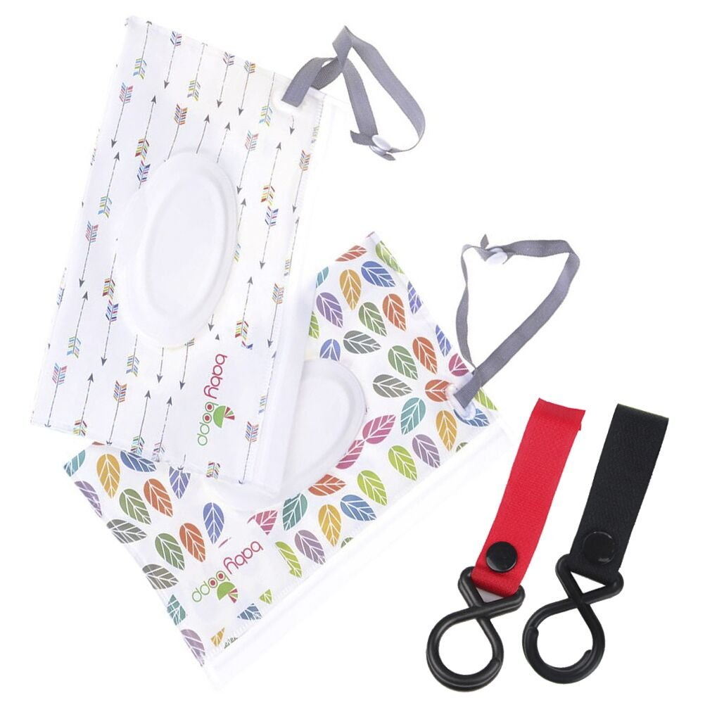 2Pcs Wet Wipe Pouch + 2Pcs Baby Carriage Hook, Cartoon Pattern Travel Wipes Dispenser Holder Reusable Refillable Wet Wipe Bag Portable Baby Wet Wipes Portable Cases yunyong