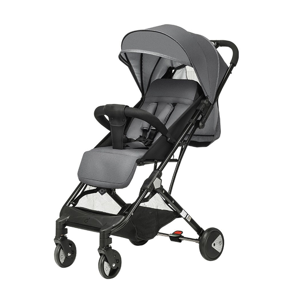 Strollers Baby 4 Wheels Damping High Landscape Baby Stroller Portable Folding Small Draw-bar Box Baby Pushchairs (Color : Gray)