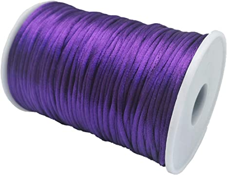 Pink Kumihimo Rattail Chinese Knot YEQIN 2mm x 100 Yards Quality Rattail Nylon Satin Cord Roll
