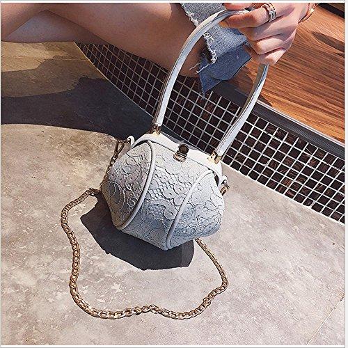 paquete pequeo oblicuo Rrock negro Mini redondo gris bolso nia cadena encaje mano diagonal hombro wtxqgSX