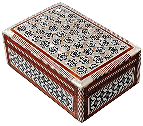(CraftsOfEgypt Jewelry Box Mother of Pearl - Egyptian Decorative Mosaic Jewelry Trinket Box - Convenient Inlaid Box for Jewelry and Other Small Items - Ideal Trinket Box for Gifting a)