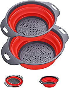 Collapsible Colander Set 2 Pack Colander with Handles 2 Qt & 4 Qt, Strainers and Colanders Collapsible Silicone for Vegetables, Fruits, Pasta Draining, Food Grade Silicone Kitchen Strainer