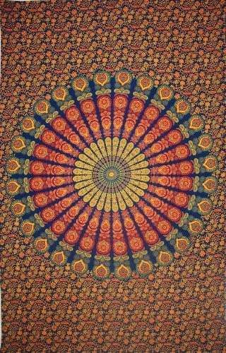 India Arts Sanganer Peacock Mandala Tapestry Throw Tablecloth Bedspread Full Gorgeous