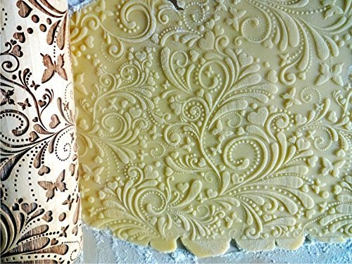 ROLLING PIN SPRING WOODDEN EMBOSSING ROLLING PIN with BUTTERFLIES and FLOWERS EMBOSSED COOKIES GIFT FOR MOTHER FRIEND
