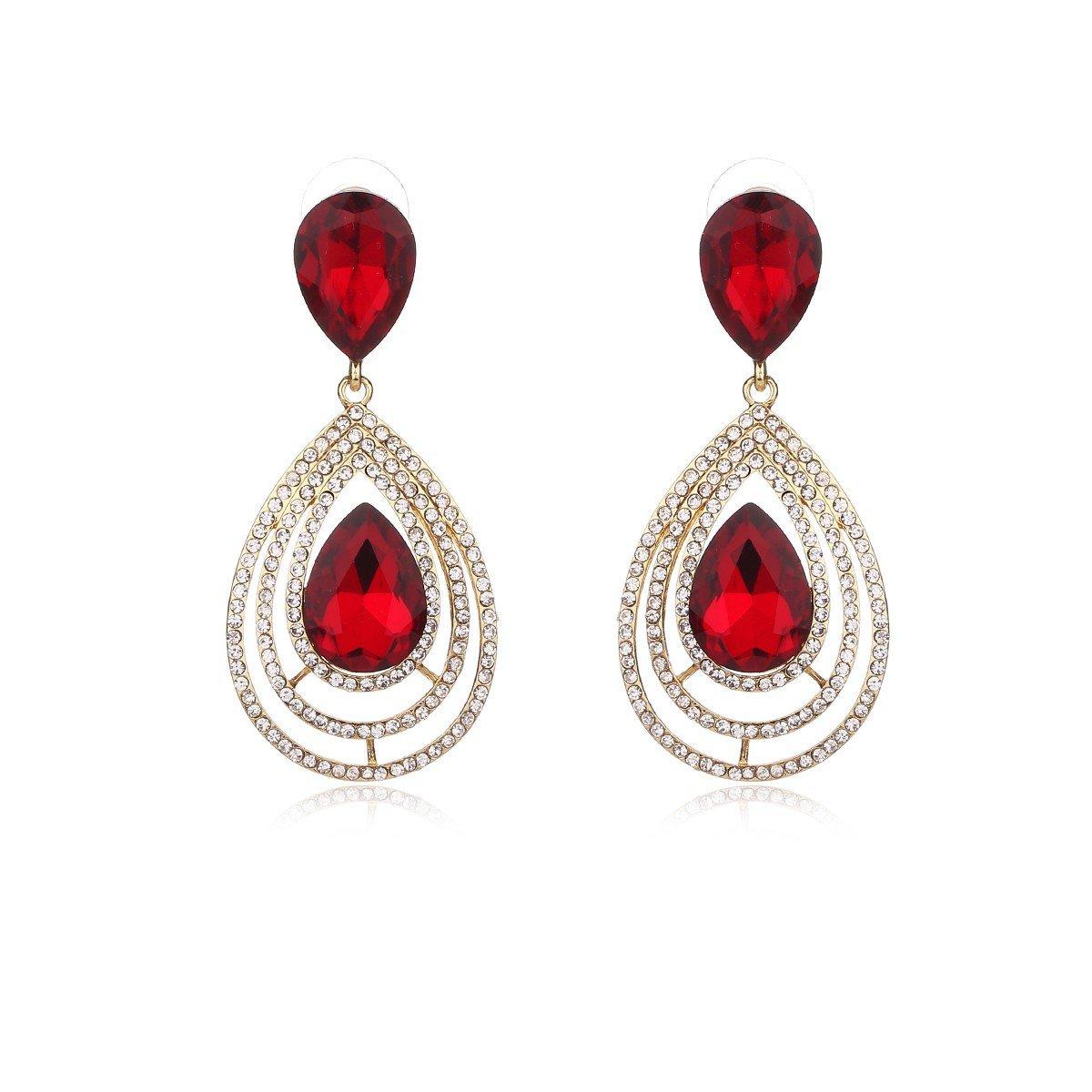 Moochi Drop Shape Red Zirconia Gold Plated Crystal Oval Fashion Earrings JS-W7149