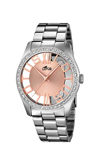 Reloj transparente Lotus para mujer elaborado en acero inoxidable.