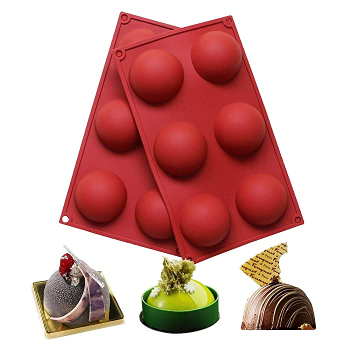 BAKER DEPOT 6 Holes Silicone Mold For Chocolate Cake Jelly Pudding Handmade Soap Round Shape Dia: 2 1/2 inches Set of 2