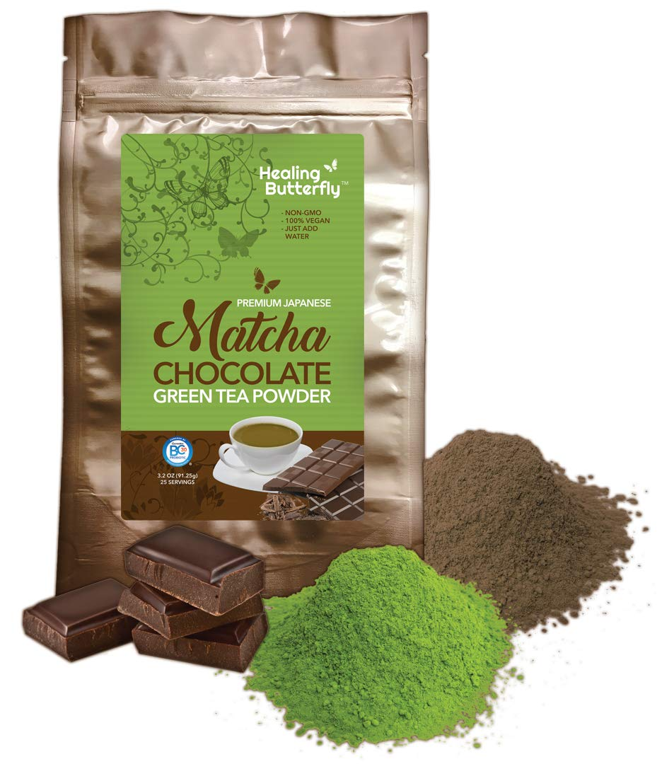 Chocolate Matcha Green Tea Powder, Detoxify and Cleanse Your Body With Organic Japanese Premium Matcha, Cacao, and Probiotics, Boosts Your Metabolism And Tastes Great, [91.25g, 3.2oz, 25 Servings]