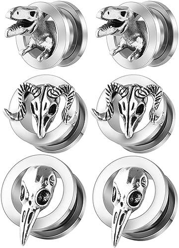 Pair Retro opal Ear Expander  Piercing Ear Plugs Tunnels Gauge punk body jewelry