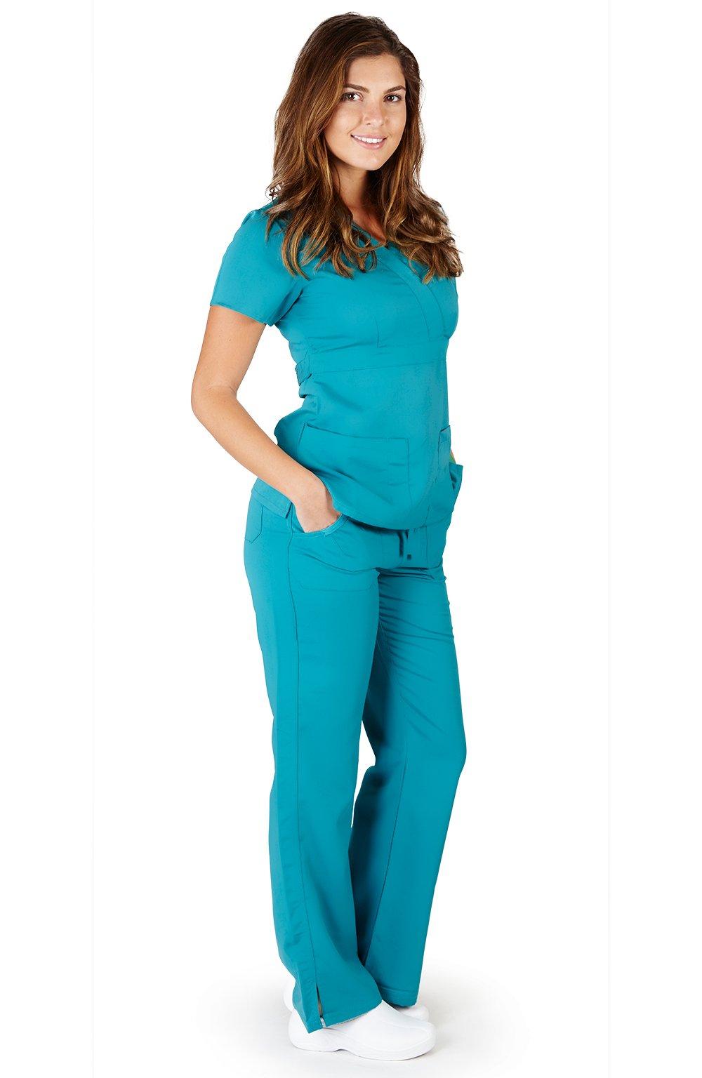 Ultra Soft Brand Scrubs - Premium Womens Junior Fit 3 Pocket Mock Wrap Scrub Set, Teal 39114-X-Large