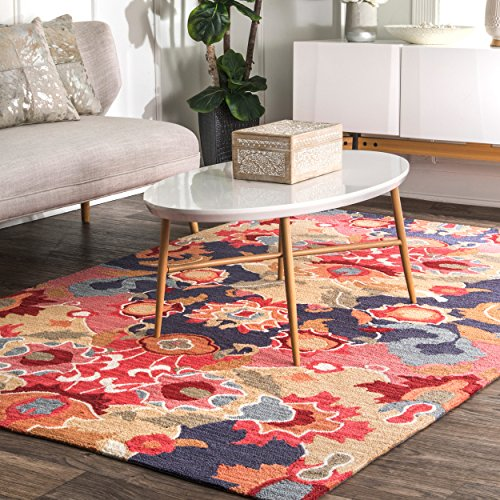 (Contemporary Handmade Hooked Felicity Multi Rug, 2 Feet by 3 Feet (2' x 3'))