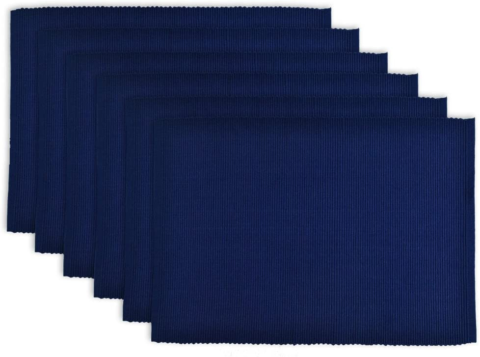 """DII 100% Cotton, Ribbed 13x 19"""" Everyday Basic Placemat Set of 6, Nautical Blue"""