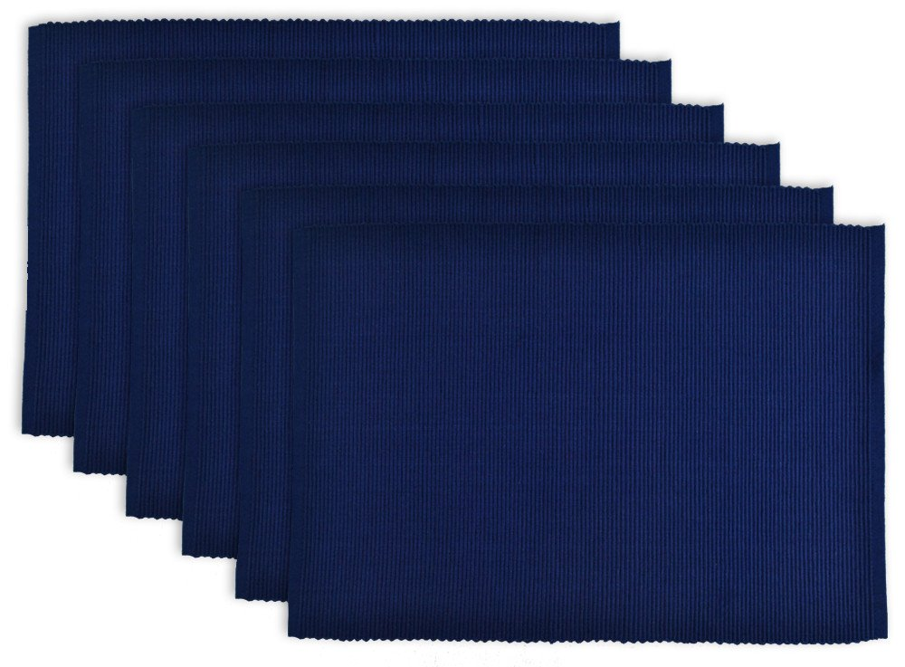 DII 100% Cotton, Ribbed 13x 19 Everyday Basic Placemat Set of 6, Nautical Blue