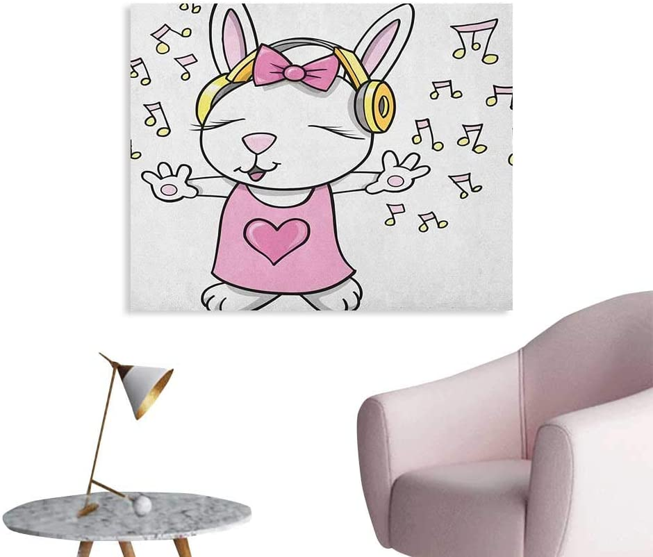 Amazon Com Unprecall Kids Photographic Wallpaper Cute Rock Star Rabbit Bunny With Speakers Music Notes Girls Humor Heart Cartoon Space Poster Baby Pink Yellow W28 Xl20 Home Kitchen