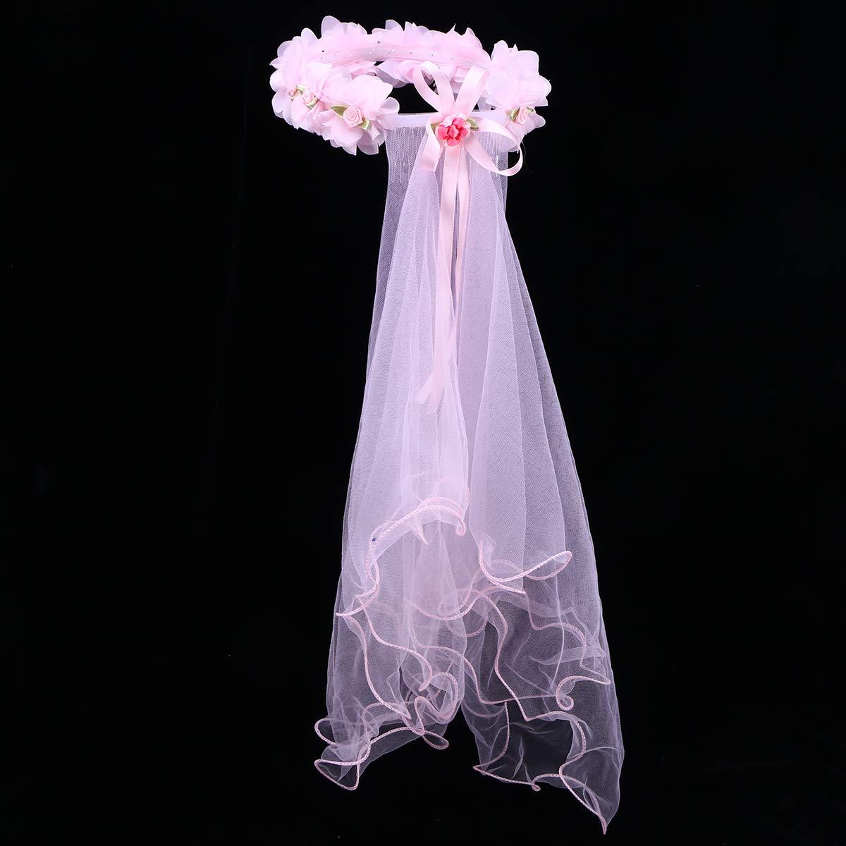 FRCOLOR Kinder Hochzeitsschleier Kurze Wei/ße Spitze Schleier mit Blumengirlande T/üll Gaze Schleier Braut Kathedrale Schleier Mantilla Kopfbedeckung f/ür Braut Verkleiden
