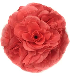 Amazon 2 kissing balls rose 7 coral artificial silk flowers ben collection fabric artificial flowers silk rose pomander wedding party home decoration kissing ball trendy color mightylinksfo