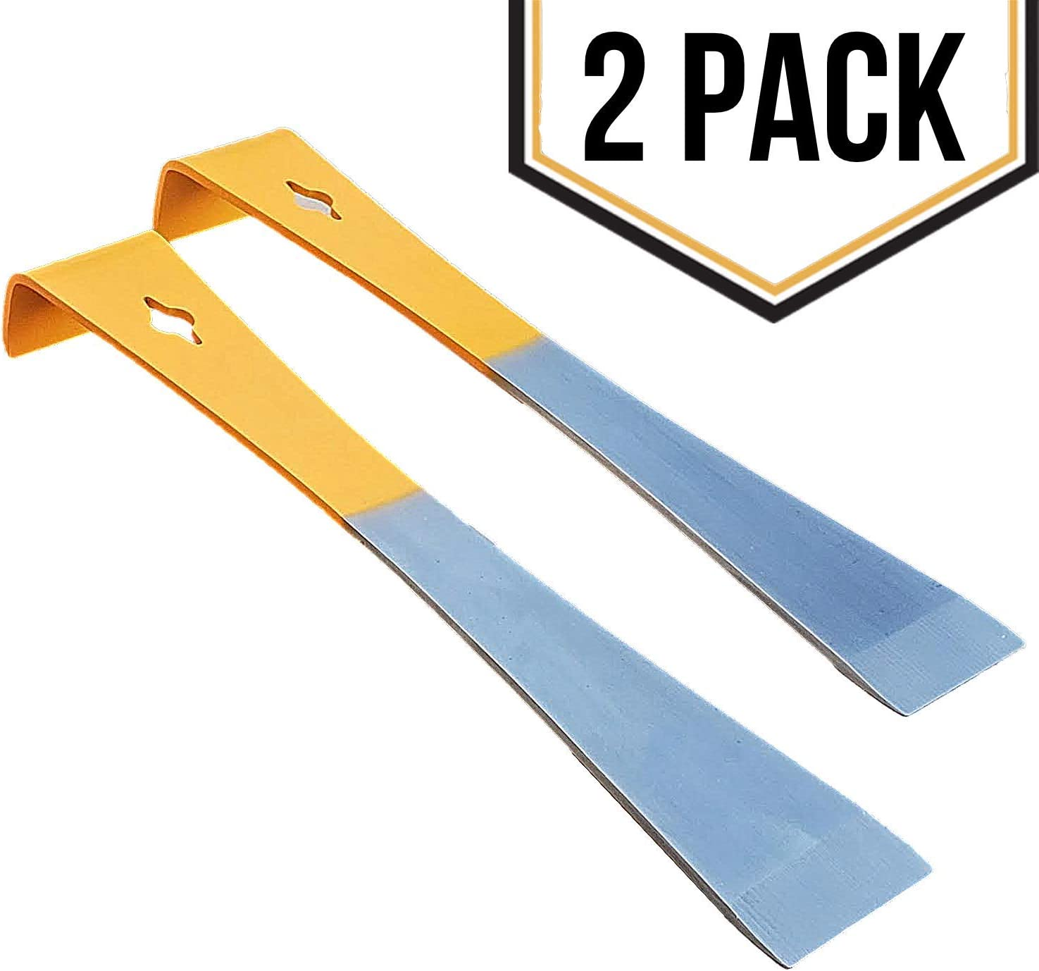 Stainless Steel Beekeepers Hive Tool Set with a Very Strong Flat Bar for Prying Bee Hives Apart, Lifting Frames and Bent Edge for Scraping Your Beehive and Supplies Clean of Wax - 2 Pack