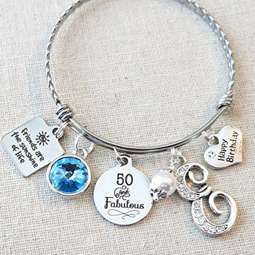 50th BIRTHDAY Gift For Women Milestone Birthday Her 50 And Fabulous Bracelet Friends Are The Sunshine Of Life Bangle Friendship Gifts