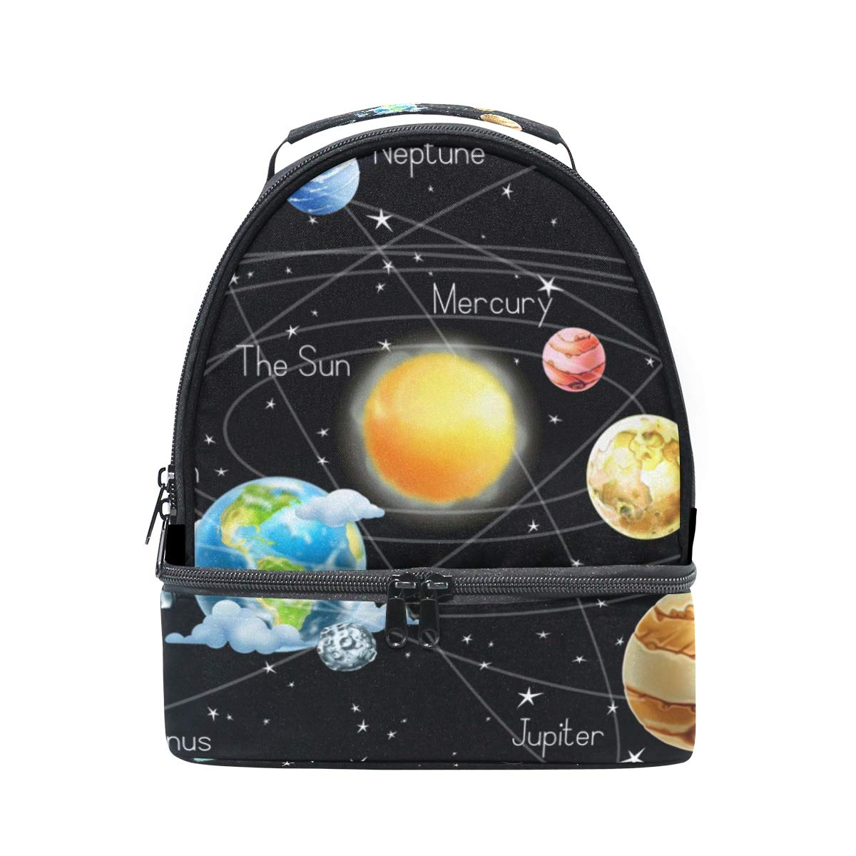 FOLPPLY Outer Space Solar System Lunch Bag Insulated Cooler Tote Box with Adjustable Shoulder Strap for Pincnic School