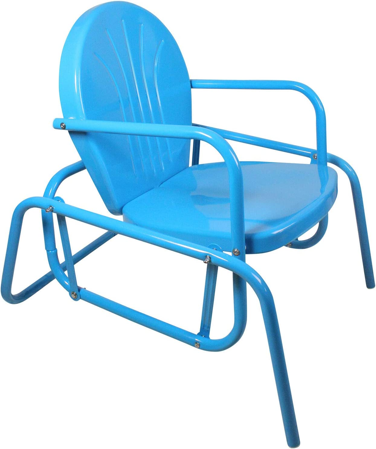 32 Inch Turquoise Blue Outdoor Retro Metal Tulip Single Glider