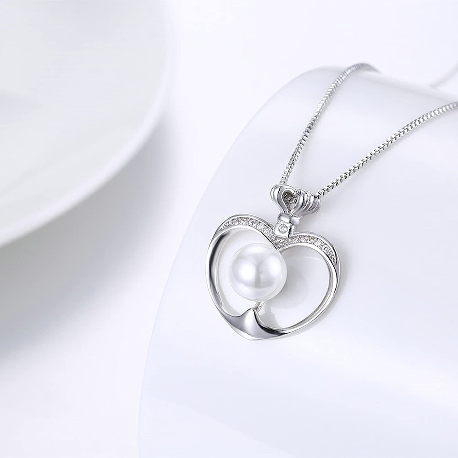 45+5CM KnSam Necklace for Women Heart Embedded Pearl White Chain Length