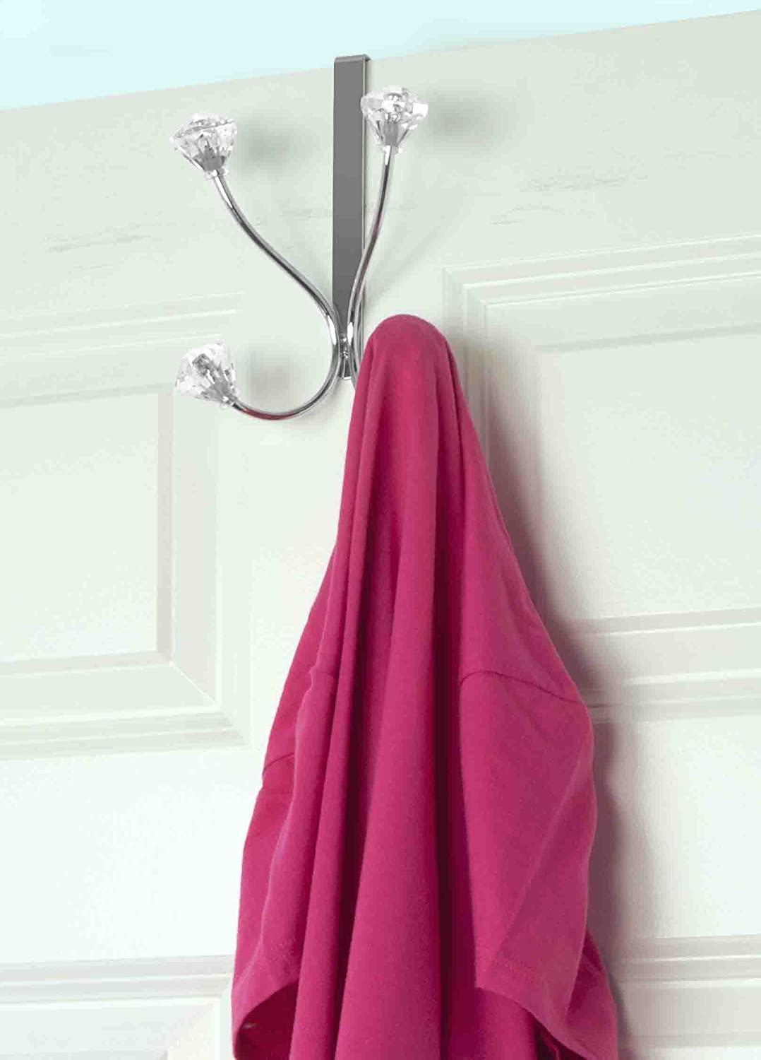 Home Basics Over the Door Double Towel Crystal Hooks, For Hanging Clothes, Coats, Robes or Towels, Organize Bathroom, Bedroom and Closet,Chrome