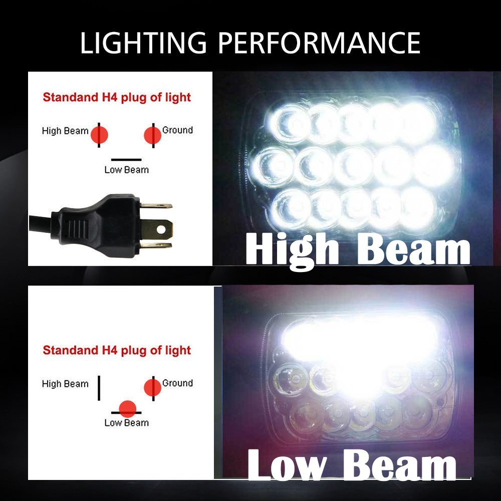 7x6 5x7 Led Headlights For Chevy Express Cargo Van 93 Integra Wiring Harness 3500 Replace H6014 H6052 H6054 H6012 Sealed Beam Rectangular Super Bright 6000k White High Low Conversion Kit Automotive