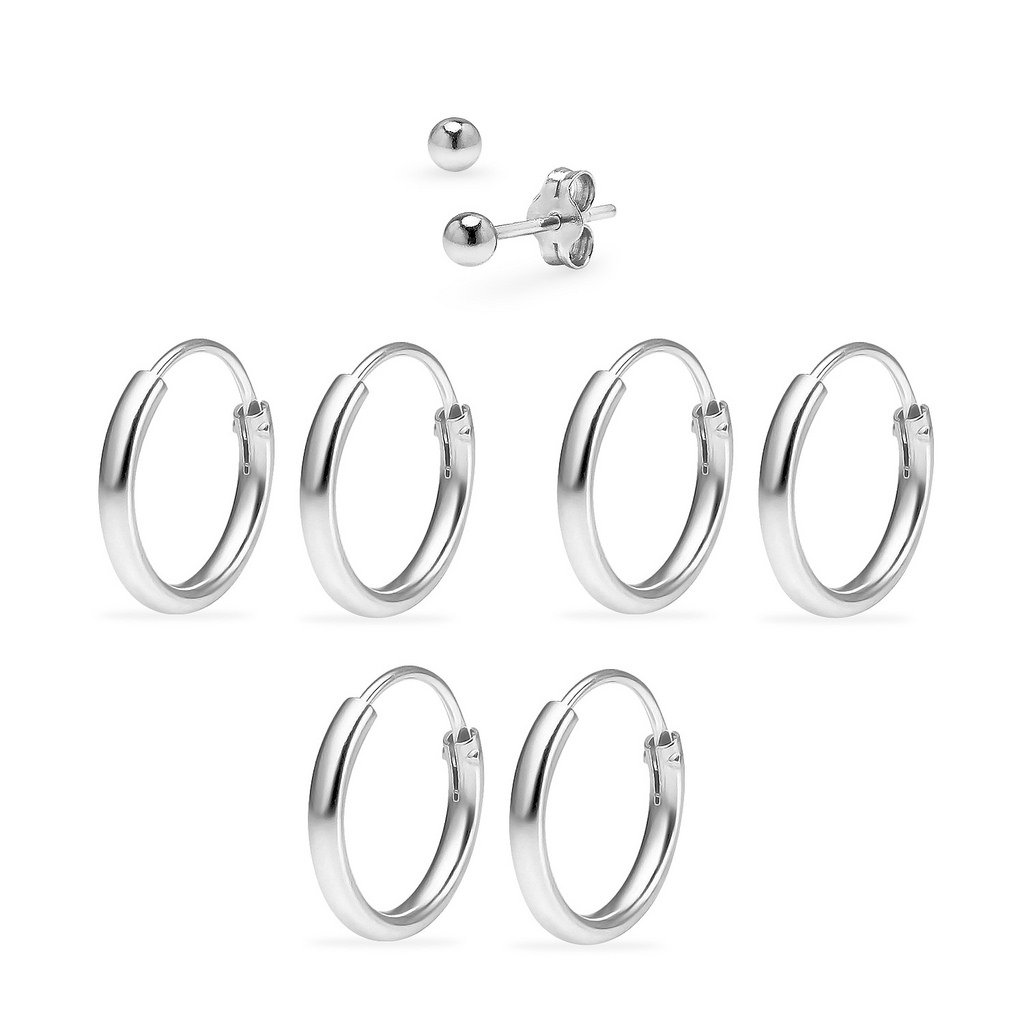Three Pairs Sterling Silver 10mm Endless Hoops and One Pair 3mm Ball Stud Unisex Cartilage Earrings Set